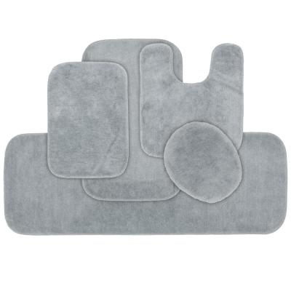 Traditional 5 Piece Washable Bathroom Rug Set in Platinum Gray