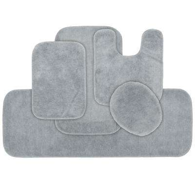 Traditional 5 Piece Washable Bathroom Rug Set in Platinum Gray