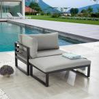 2-Piece Metal Frame Sectional Set with Gray Cushions