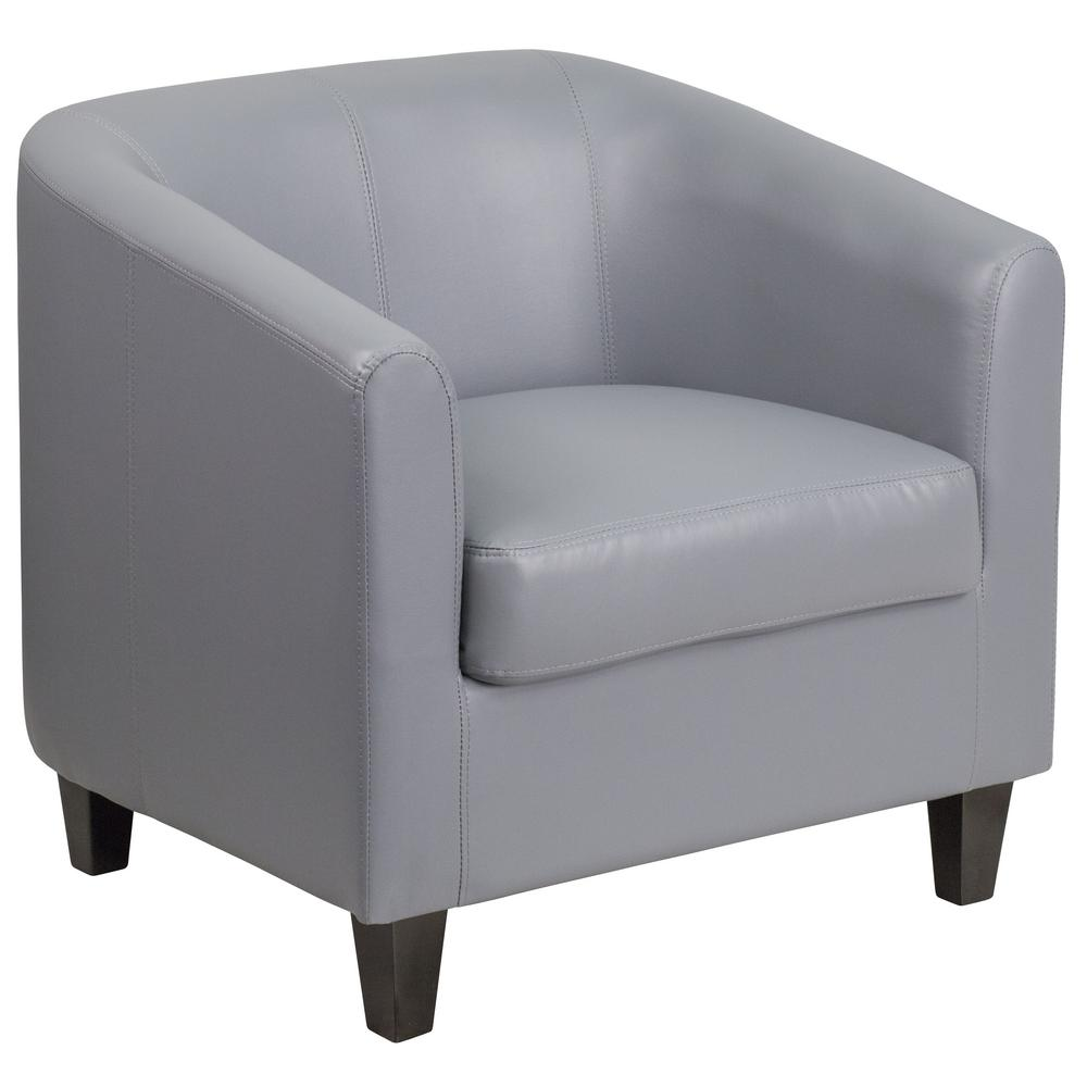 Flash Furniture Gray Leather Office Guest Chair Reception