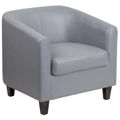 Gray Leather Office Guest Chair / Reception Chair