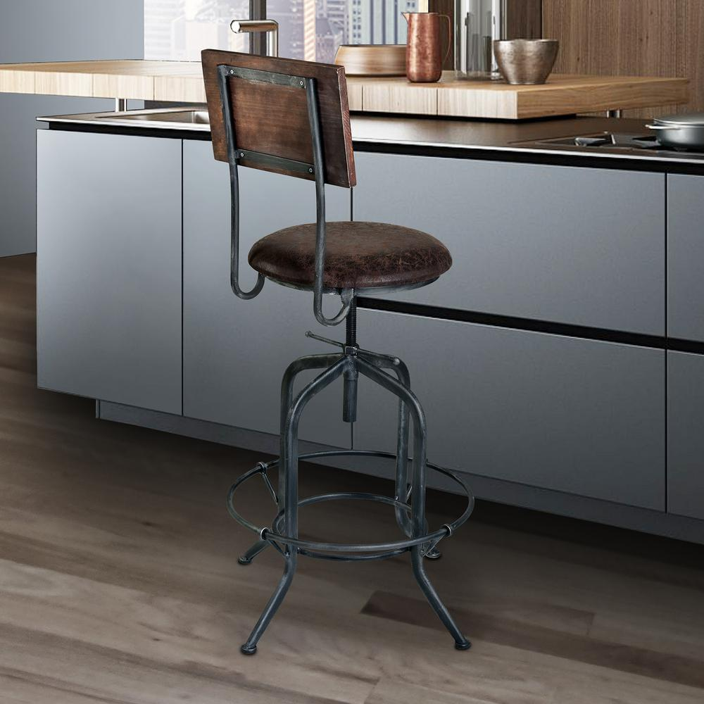 Good Armen Living Damian 25 30 In. Brown Fabric And Industrial Gray Finish  Adjustable Barstool