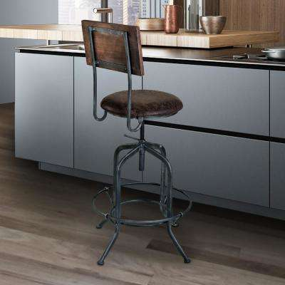 Damian 25-30 in. Brown Fabric and Industrial Gray Finish Adjustable Barstool