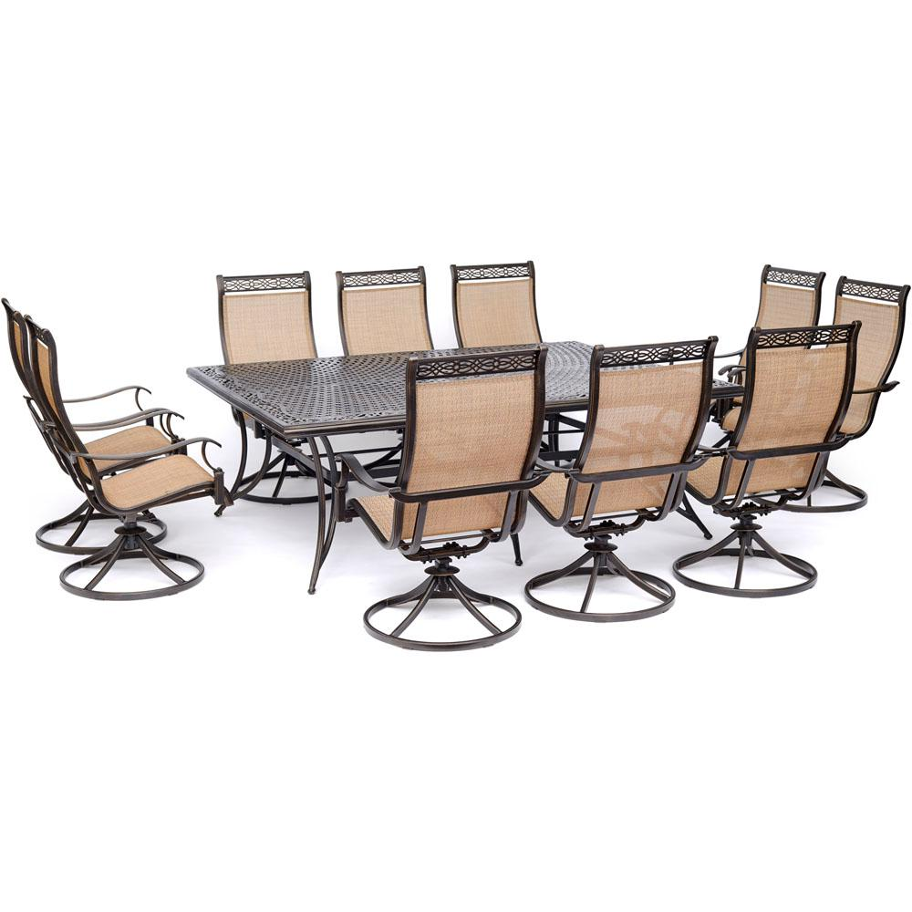 Hanover Sling Outdoor Dining Set Swivel Rockers Cast Top Table