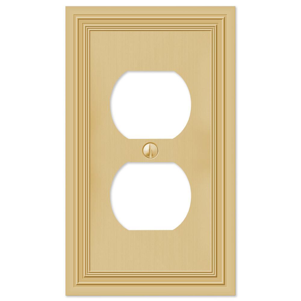 Hallcrest Cast 1-Duplex Wall Plate, Satin Brass