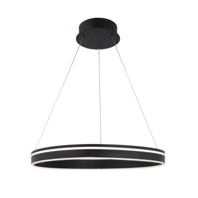 Voyager 1-Light 320-Watt Equivalent Integrated LED Black Pendant with Acrylic Shade