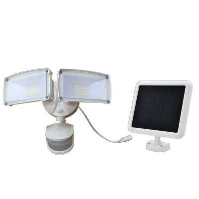 180-Degree White Motion Activated Outdoor Solar Integrated LED Landscape Dual-Head Security Flood Light