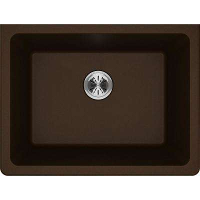 Quartz Classic Perfect Drain Undermount 25 in. Laundry Sink in Mocha