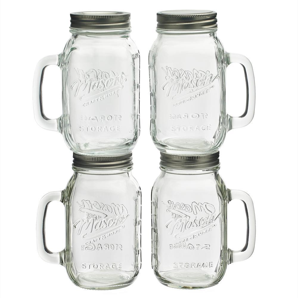 24 oz. Glass Jar with Handle (Set of 4)