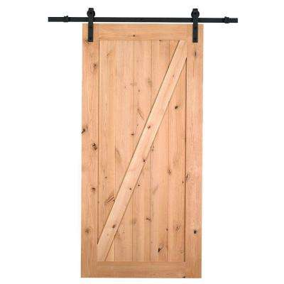 36 in. x 84 in. Canadian Hemlock Unfinished Barn Door with Sliding Door Hardware Kit