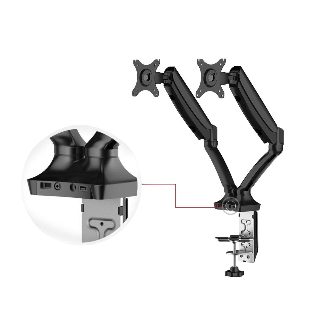 Full Motion Gas Spring Dual Arms Desk Mount Fits Most 10 ...