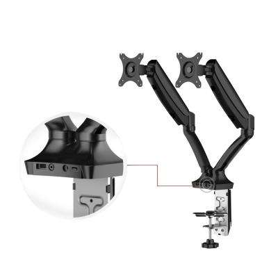 Full Motion Gas Spring Dual Arms Desk Mount Fits Most 10 in. - 27 in. Monitors with USB Ports and 2 Cables