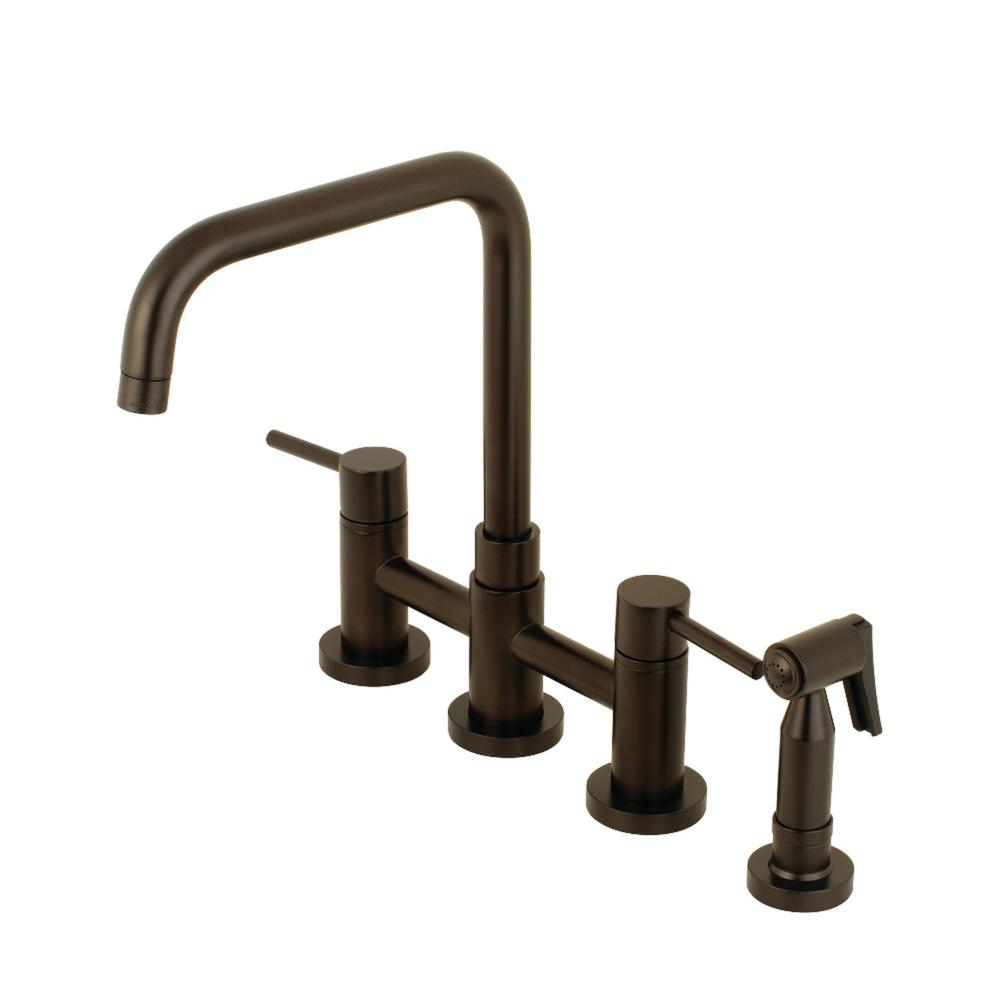 Kingston Brass Modern 2-Handle Bridge Kitchen Faucet with Side Sprayer in  Oil Rubbed Bronze