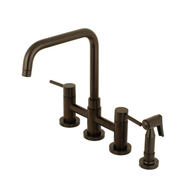 Modern 2-Handle Bridge Kitchen Faucet with Side Sprayer in Oil Rubbed Bronze