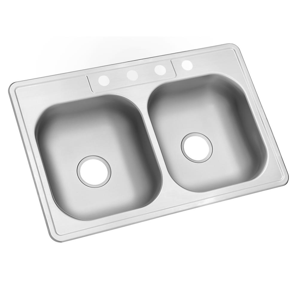 Glacier bay drop in stainless steel 33 in 4 hole double bowl kitchen
