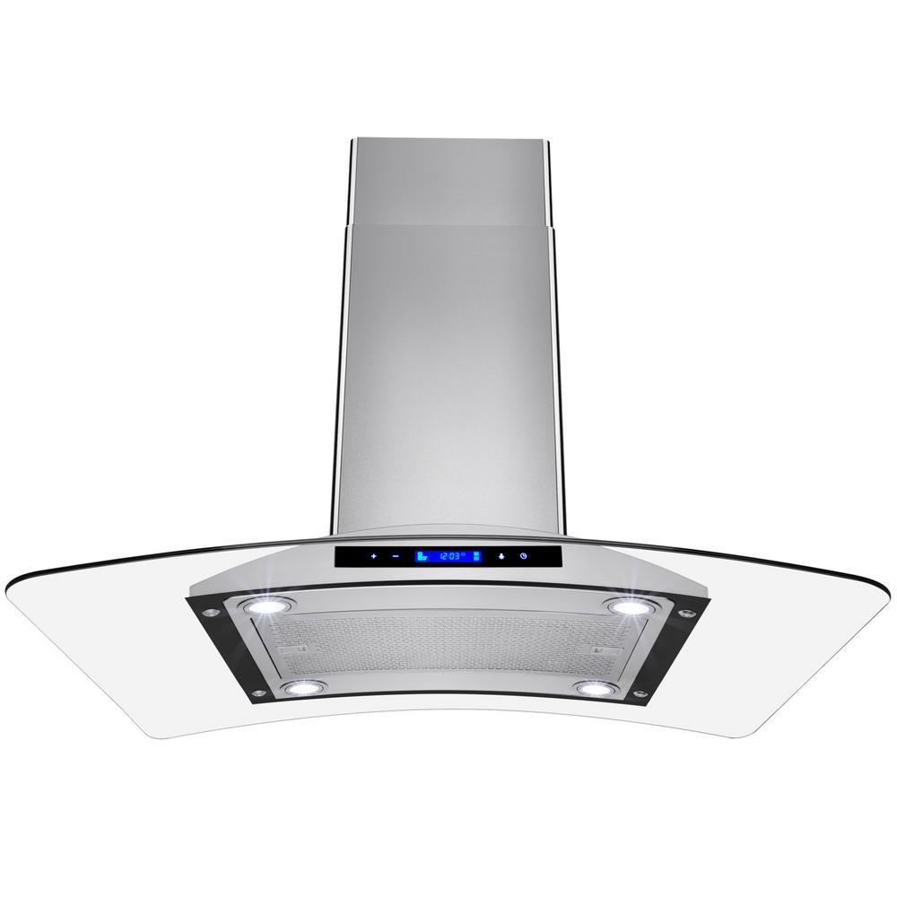 36 in. Convertible Kitchen Island Mount Range Hood in Stainless Steel