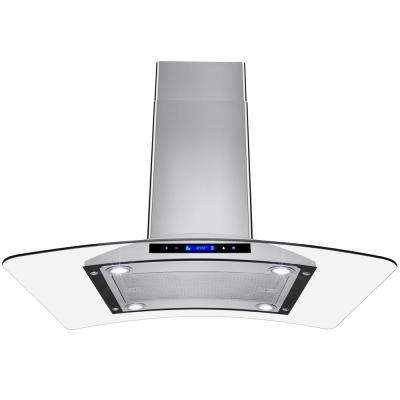 36 in. Convertible Kitchen Island Mount Range Hood in Stainless Steel with Tempered Glass and Touch Controls