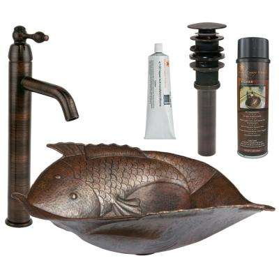 All-in-One Two Fish Hammered Copper Vessel Sink and Faucet in Oil Rubbed Bronze