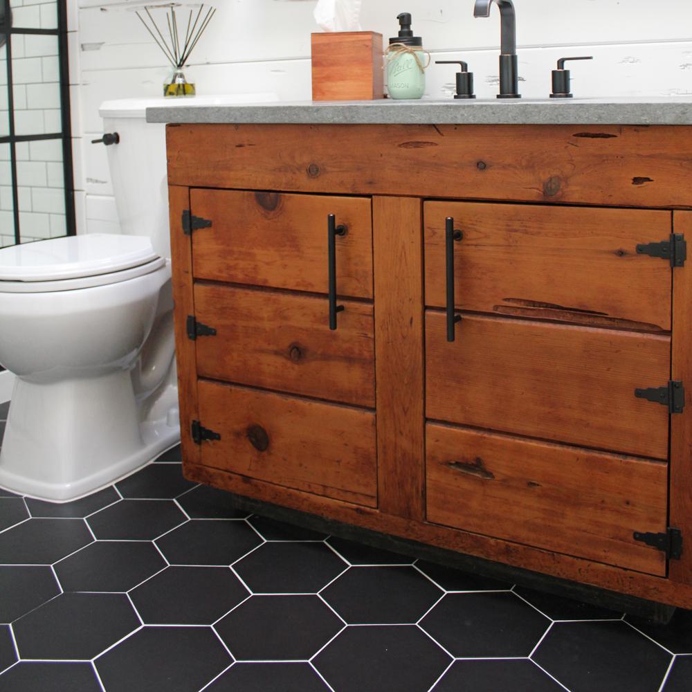 Merola Tile Textile Hex Black 8 5 In