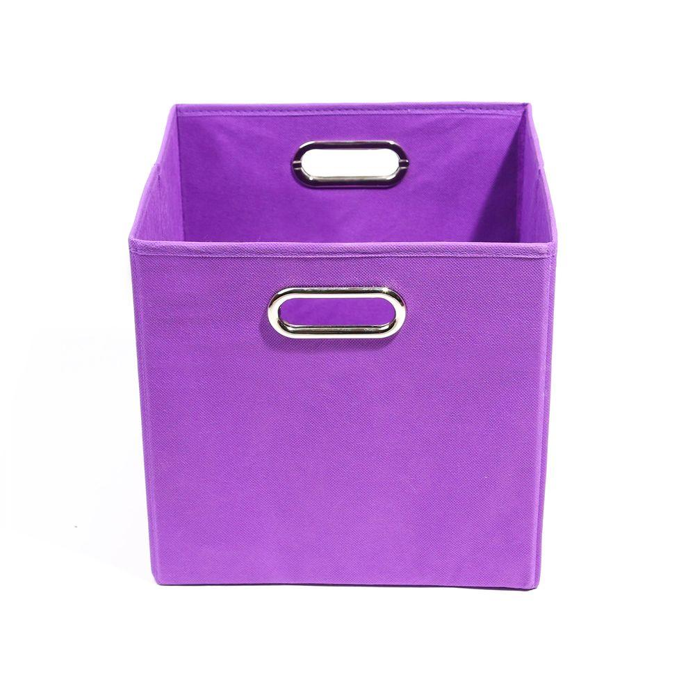 Modern Littles Color Pop 10.5 in. x 10.5 in. x 10.5 in. Folding Solid Purple Fabric Storage Bin