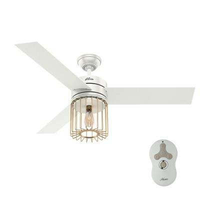 Hunter remote control included ceiling fans lighting the ronan 52 in led indoor fresh white ceiling fan with remote control and light aloadofball Image collections