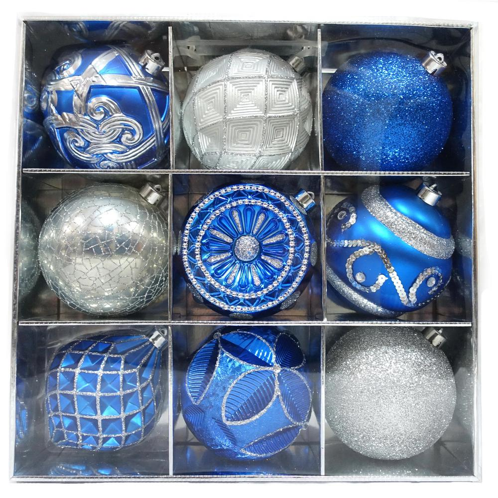 home accents holiday 130 mm blue and silver ornament set 9 count - Blue And Silver Christmas Ornaments