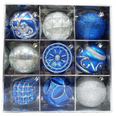130 mm blue and silver ornament