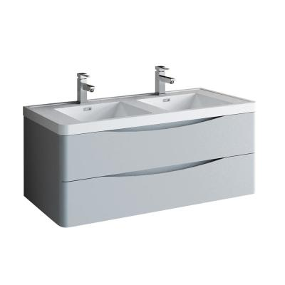 Tuscany 48 in. Modern Double Wall Hung Vanity in Glossy Gray with Vanity Top in White with White Basins