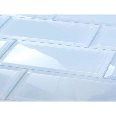 3 in. x 12 in. Frosted Elegance Catherine Blue Glass Peel and Stick Wall Tile Sample