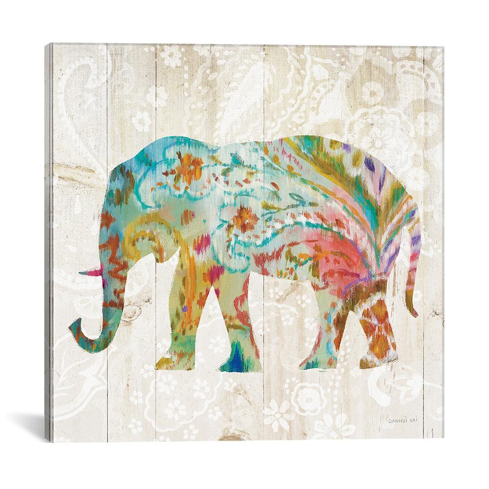 """Boho Paisley Elephant II"" by Danhui Nai Canvas Wall Art"