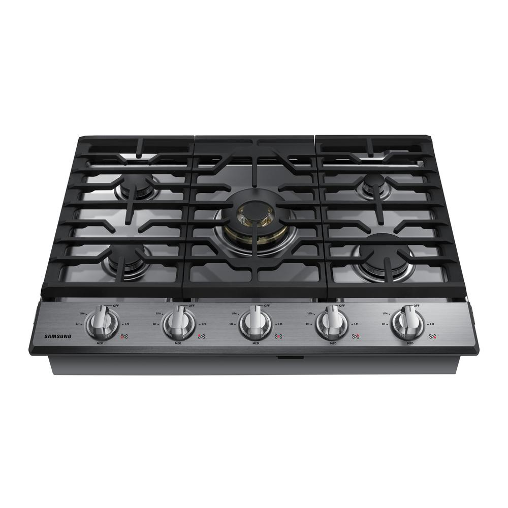 Samsung 30 in. Gas Cooktop in Stainless Steel with 5 Burners including Dual Brass Power Burner with Wi-Fi