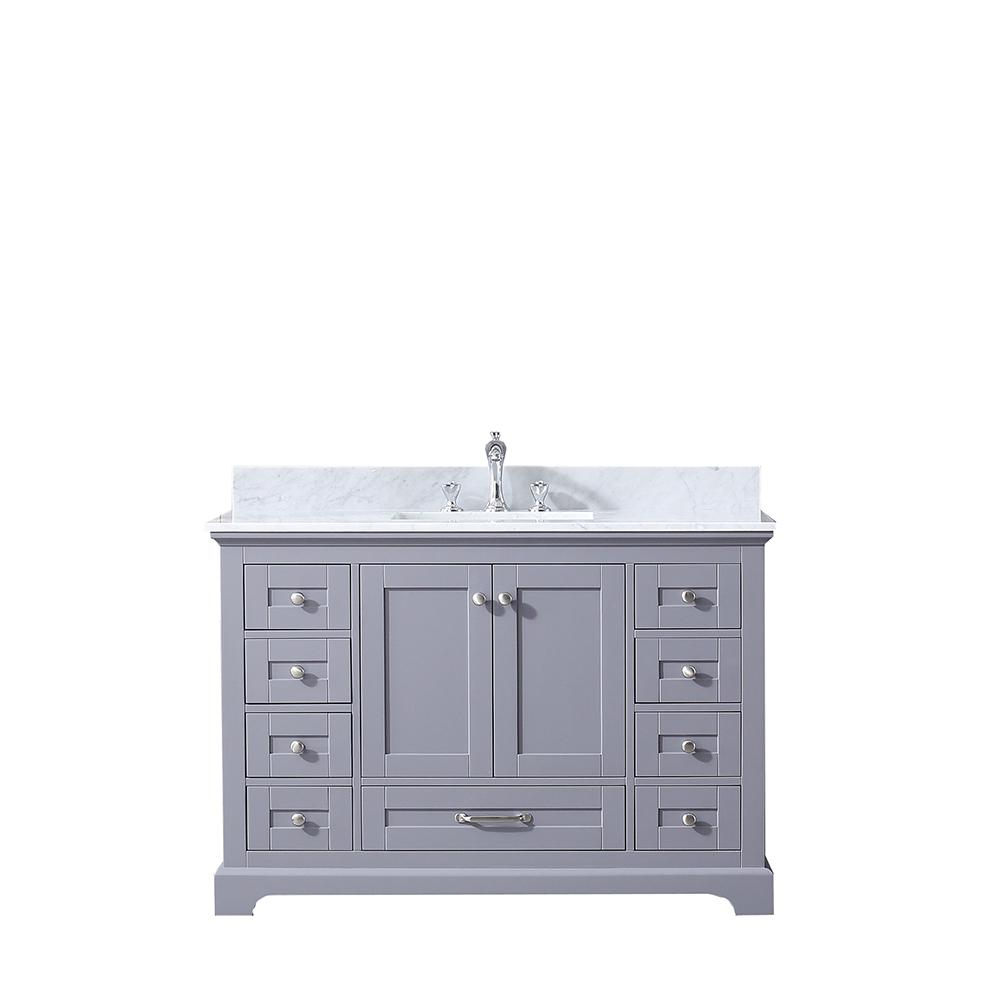 Lexora Dukes 48 in. Single Bath Vanity in Dark Grey with White Carrera Marble Vanity Top with White Square Sink