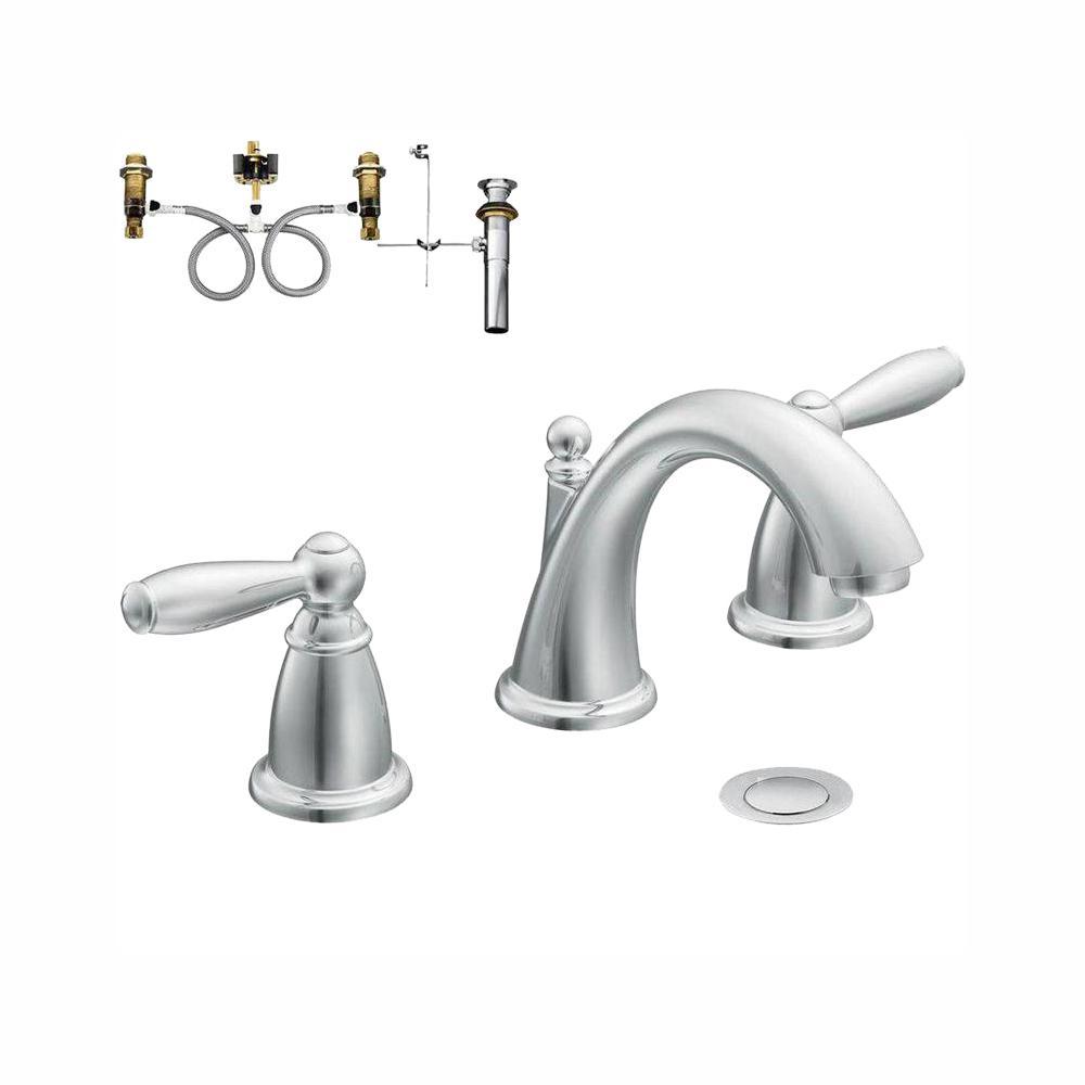 MOEN Brantford 8 in. Widespread 2-Handle Bathroom Faucet Trim Kit with  Valve in Chrome