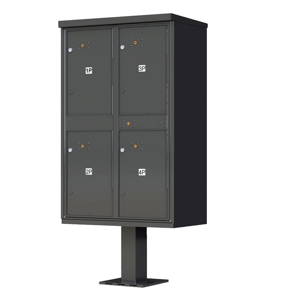 1590 Series 4 Parcel Lockers on Pedestal Valiant Outdoor Parcel Locker