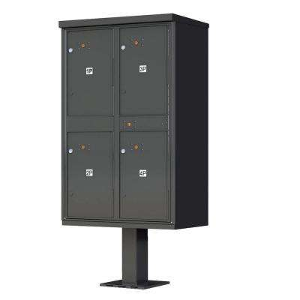 1590 Series 4-Parcel Lockers on Pedestal Valiant Outdoor Parcel Locker