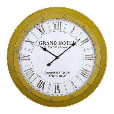 31 in. x 31 in. Circular MDF Wall Clock with Glass in Wooden Yellow Frame