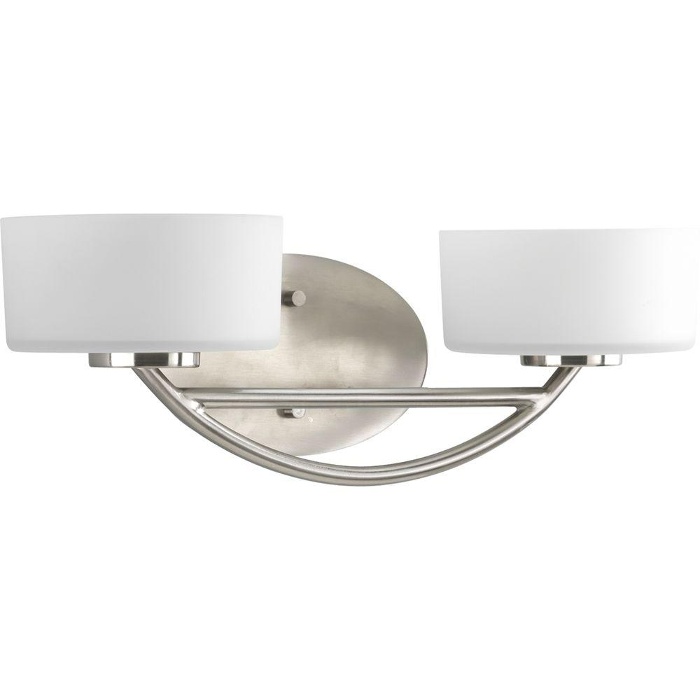 Progress Lighting Calven Collection 2-Light Brushed Nickel Vanity Fixture