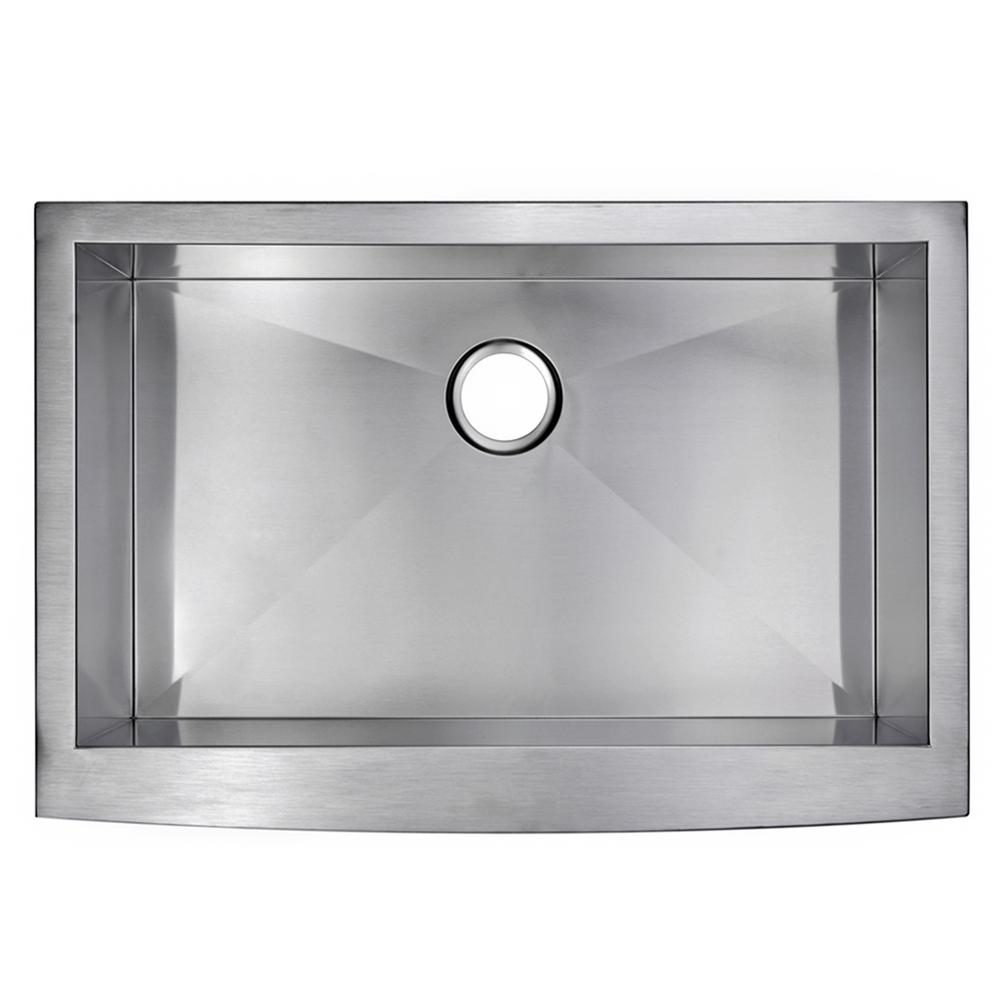 Water Creation Farmhouse Apron Front Stainless Steel 33 in. Single Bowl Kitchen Sink in Satin