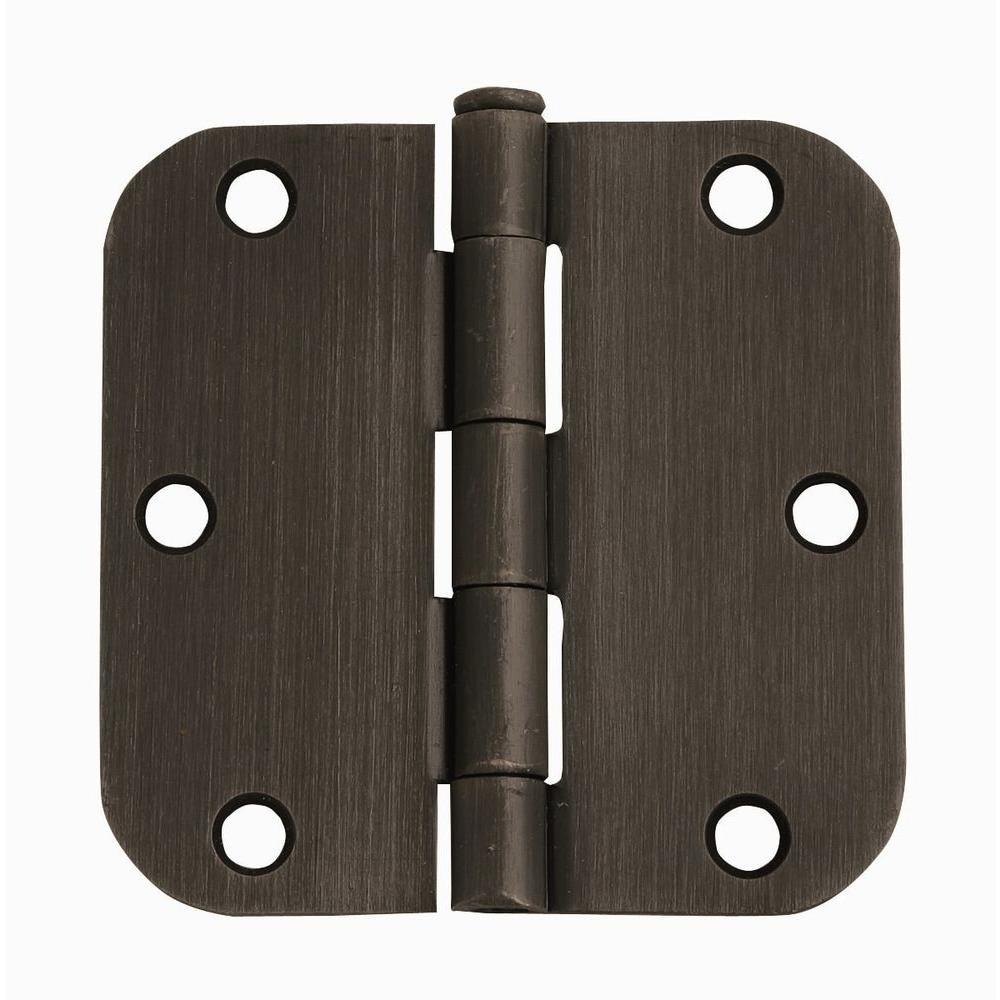 3-1/2 in. x 3-1/2 in. - 5/8 in. Radius Oil-Rubbed Bronze Corner Door Hinge