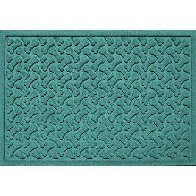 Aquamarine 24 in. x 36 in. Dog Bone Repeat Polypropylene Pet Mat