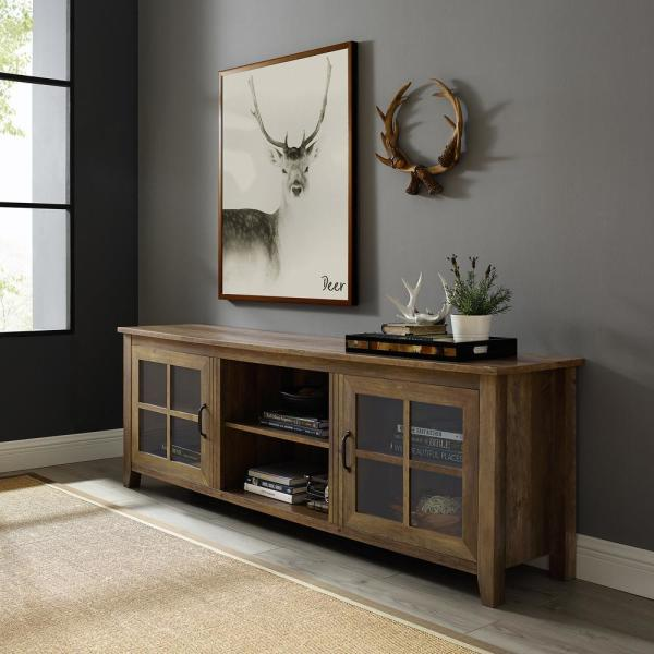 70 in. Rustic Oak Composite TV Stand 75 in. with Doors