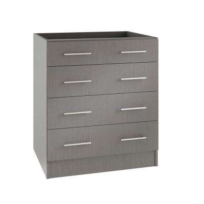 Assembled 36x34.5x24 in. Naples Open Back Outdoor Kitchen Base Cabinet with 4 Drawers in Rustic Gray