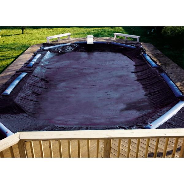 Swimline 8 Year 18 Ft X 36 Ft Rectangle Black Economy In Ground Winter Pool Cover Co82341r The Home Depot