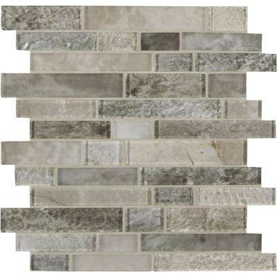 Savoy Interlocking 12 in. x 12 in. x 8 mm Glass Mesh-Mounted Mosaic Tile