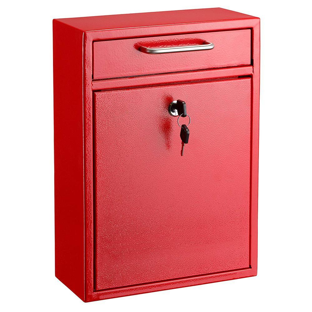 AdirOffice Large Ultimate Red Drop Box Wall Mounted Mail Box