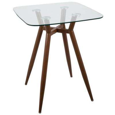 Clara Walnut Metal and Clear Glass Square Counter Height Dining Table