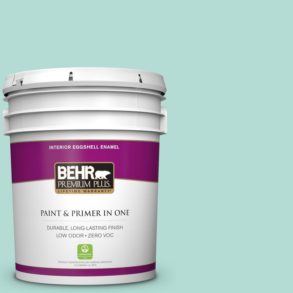 BEHR Premium Plus 5-gal. #490C-3 Balmy Seas Zero VOC Eggshell Enamel Interior Paint