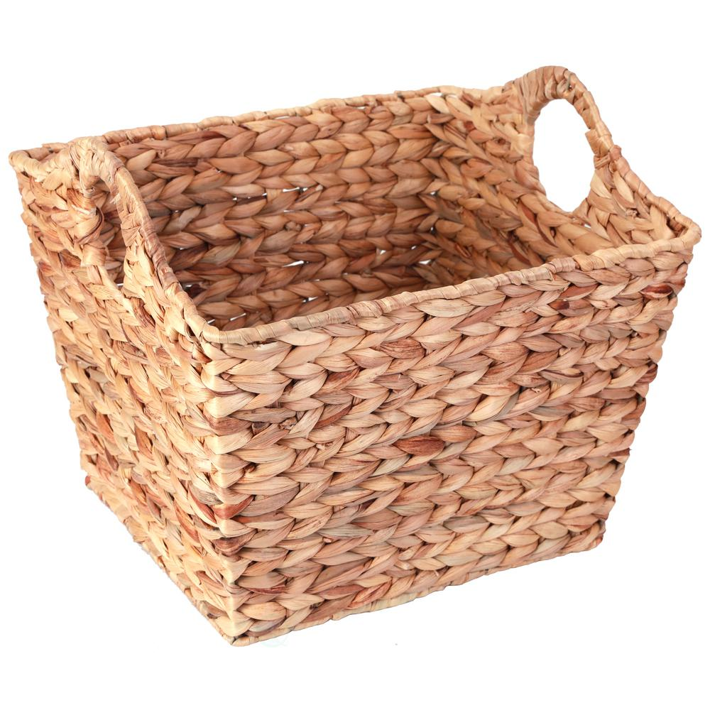 Vintiquewise Water Hyacinth Rectangular Wicker Storage Baskets With Cutout  Handles, Large