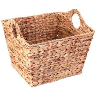 17 in. W x 11.25 in. H Brown Large Water Hyacinth Square Wicker Shelf Baskets