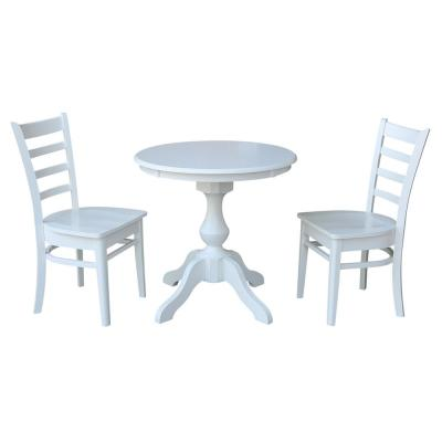 White 30 in Round Solid Wood Dining Table and 2-Emily Side Chairs (3-Piece Set)